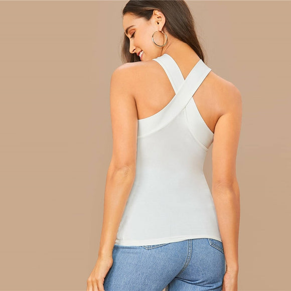 Solid Slim Criss-cross Back Halterneck Top