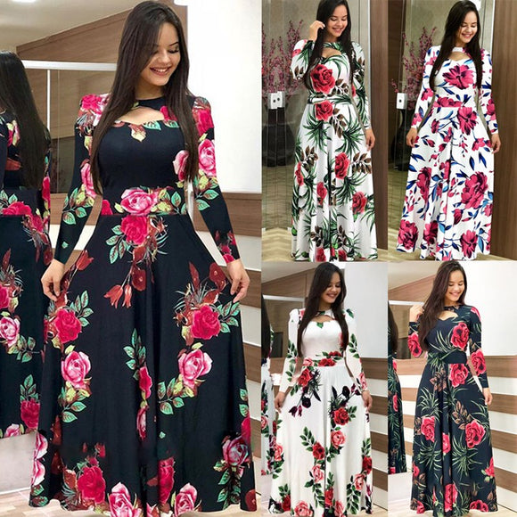 Elegant Spring Autumn Women Bohmia Flower Print Maxi Dress