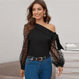 Knot Asymmetrical Fold Neck Dot Lantern Mesh Sleeve Top Blouse