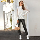 White Funnel Neck Sheer Lace Sleeve Sweater