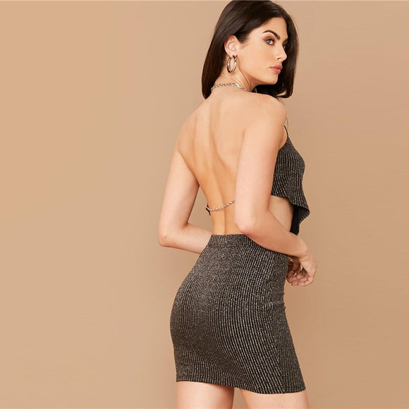 Cowl Neck Backless Black Glitter Top And Bodycon