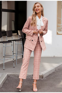 Plaid Blazer Suit Double Breasted Pockets (PINK)