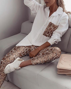 Women Snake Contrast Pocket Top & Pants Design Pant 2 Piece Set
