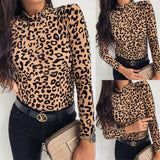 Women's Slim Fit Long Sleeve Leopard Print Shirt