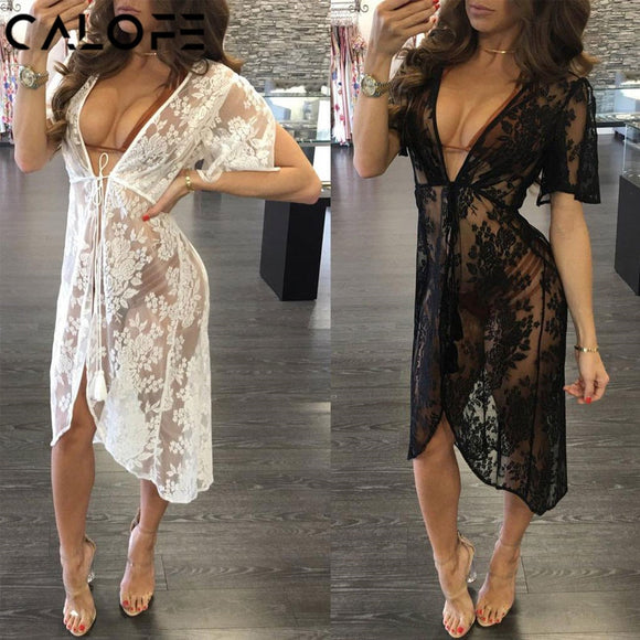 Sexy Long Lace Sexy Beach Cover Up Swim Dress