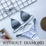 Luxury Bling Rhinestone Sliver Bikini Set Crystal Diamond