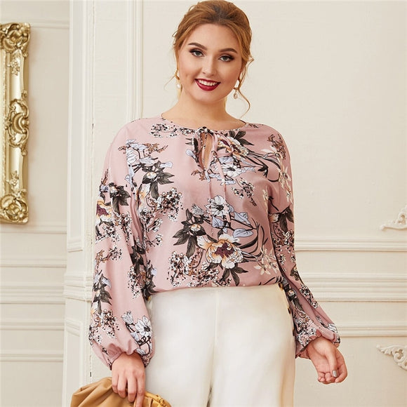 Plus Size Pink Keyhole Tie Neck Lantern Sleeve Botanical Blouse