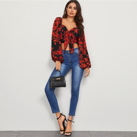 Multicolor Tie Front Shirred Detail Bishop Sleeve Floral Crop Top