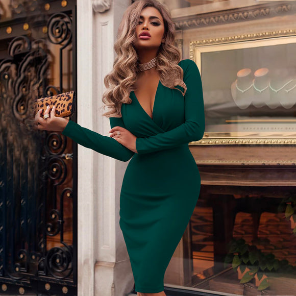 Women Party Dress Autumn Bandage Bodycon Dress