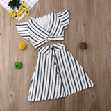 Girls Ruffle Off-Shoulder T-Shirt Top+Bow Skirt Tutu Dress Stripe Girls Beach Casual Outfits SET