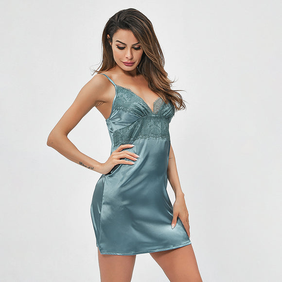 New Lace Women Satin Deep-V Night Dress