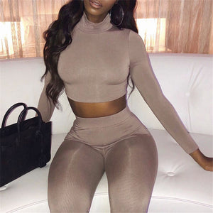 2 Piece Sets Long Sleeve Crop Top
