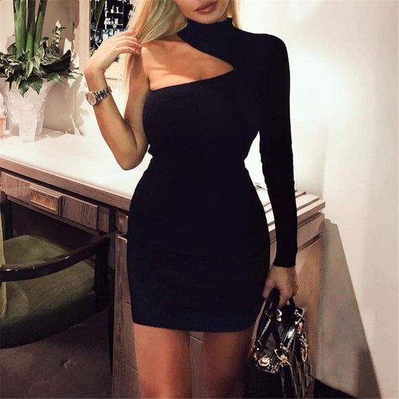 Bodycon one shoulder mini party drrss