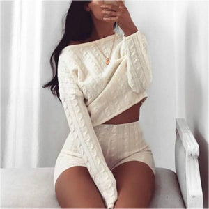 Two Piece Set Knitted Long Sleeve Crop Tops And Bodycon Shorts