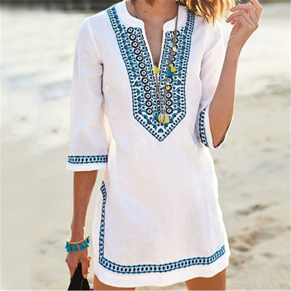 Beachwear Cover-ups Summer Vintage Embroided Beach Dress