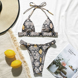 Snake print bikini Push up swimsuit