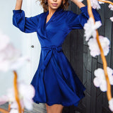 Sashes Party Lantern Sleeve V Neck Solid Office Dress