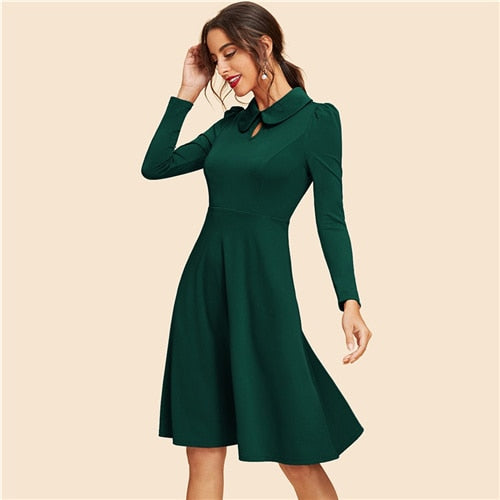 Green Keyhole Front Flare Dress Vintage Cut Out Knee Length High Waist A Line Dress