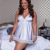 Plus Size Womens Lace Satin Nightdress