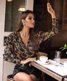 Women Long Sleeve Print Deep V Neck Top