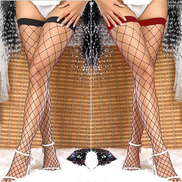 Lace Up Thigh High Fishnet Stockings