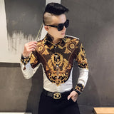 Gold Print Shirt Men Royal Retro Long Sleeve Shirt