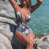 Ruffle one piece swimwear Female chic lace up swimsuit