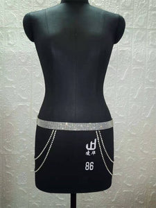 Sexy metal chain Rhinestone summer Skirts