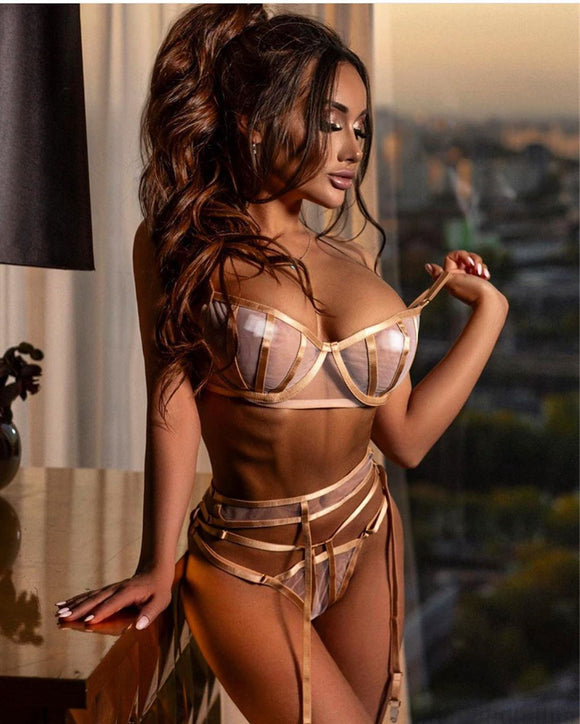 Sexy Mesh Lingerie Underwear Set Women Transparent Bralette