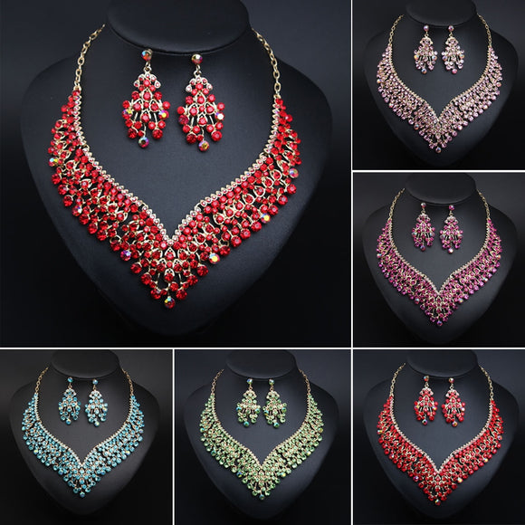 Luxurious Bridal Jewellery Sets Wedding Rhinestone Crystal Necklace Earring Set