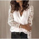 V-neck Lace Hollow Out Blouse Long Sleeve Top