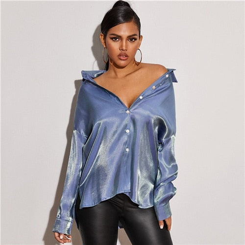 Button Front Drop Shoulder Metallic Glamorous Blouse