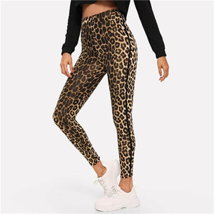 Multicolor Casual Athleisure Leopard Print High Waist Leggings