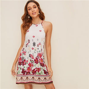 Floral Print Spaghetti Strap Boho Beach Straight Dress