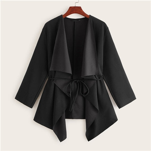 Black Waterfall Collar Asymmetrical Hem Coat With Belt