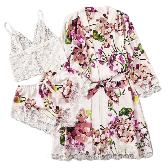 Multicolor Floral Lace Bralette With Satin Shorts and Belted Robe Set