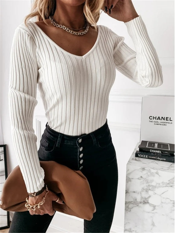 Ribbed Knitted Casual V Neck Long Sleeve Top