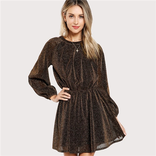 Party Dress Gold Autumn Women Dresses Cut Out Vintage Elegant Bishop Sleeve Mesh Sequin Transparent A Line Dress