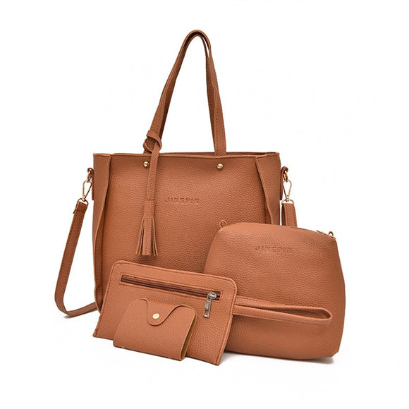 Womens 4 Piece Leather Handbag Set