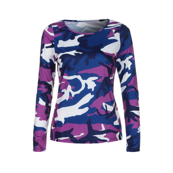 Womens Camouflage T-shirt Long Sleeve Casual Loose Tops Ladies Blouse