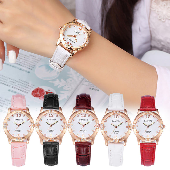 Women Watch Fashion Rhinstone Luxury Leather Analog Quartz Vogue Watches