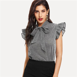 Gray Tied Neck Ruffle Sleeve Summer Casual Tops And Blouse