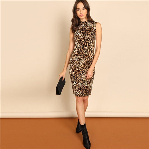 Leopard Modern Lady Elegant Mock-Neck Leopard Print Knee Length Stand Collar Dress Autumn Women Workwear Dresses