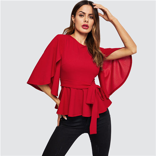 Red Split Flared Half Sleeve Belted Peplum Solid Blouse Top