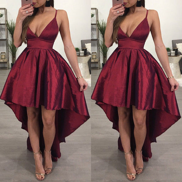 Bridesmaid V Neck Women Formal Wine Red Backless Asymmetrical Dress