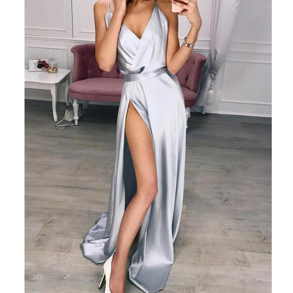 Elegant Plain Maxi dress Strappy Backless High Waist V-Neck Long Dress