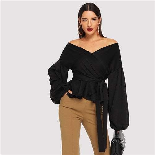 White Office Lady Elegant Lantern Sleeve Surplice Peplum Off the Shoulder Solid Blouse