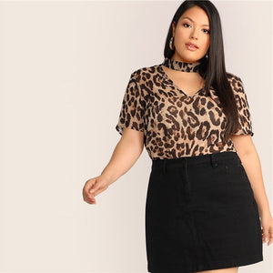 Plus Size Choker Neck Leopard Print Top Blouse