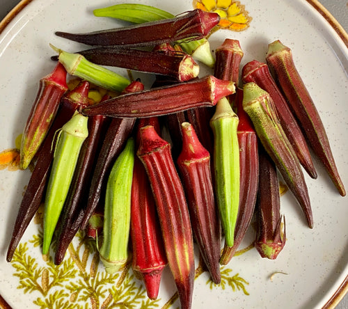 OKRA:  COLORFUL HEIRLOOM MIX (1/2 LB)