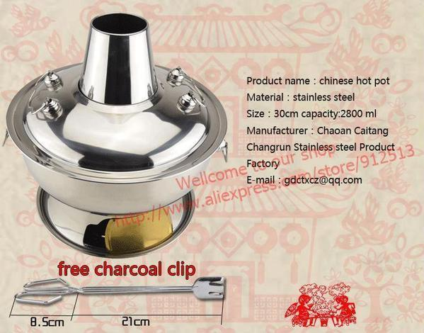 2.8l Stainless Steel Beijing Charcoal Hot Pot